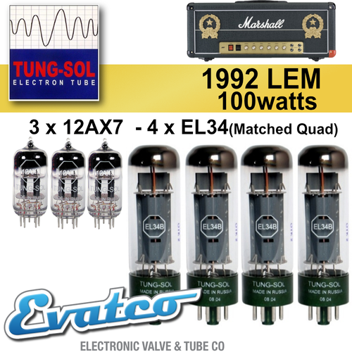 Tung-Sol Marshall 1992LEM 100Watt Retube Kit