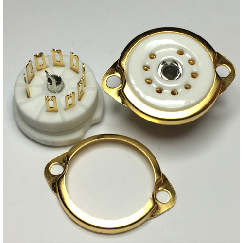9 Pin Ceramic Socket Gold Pins 22mm chassis hole